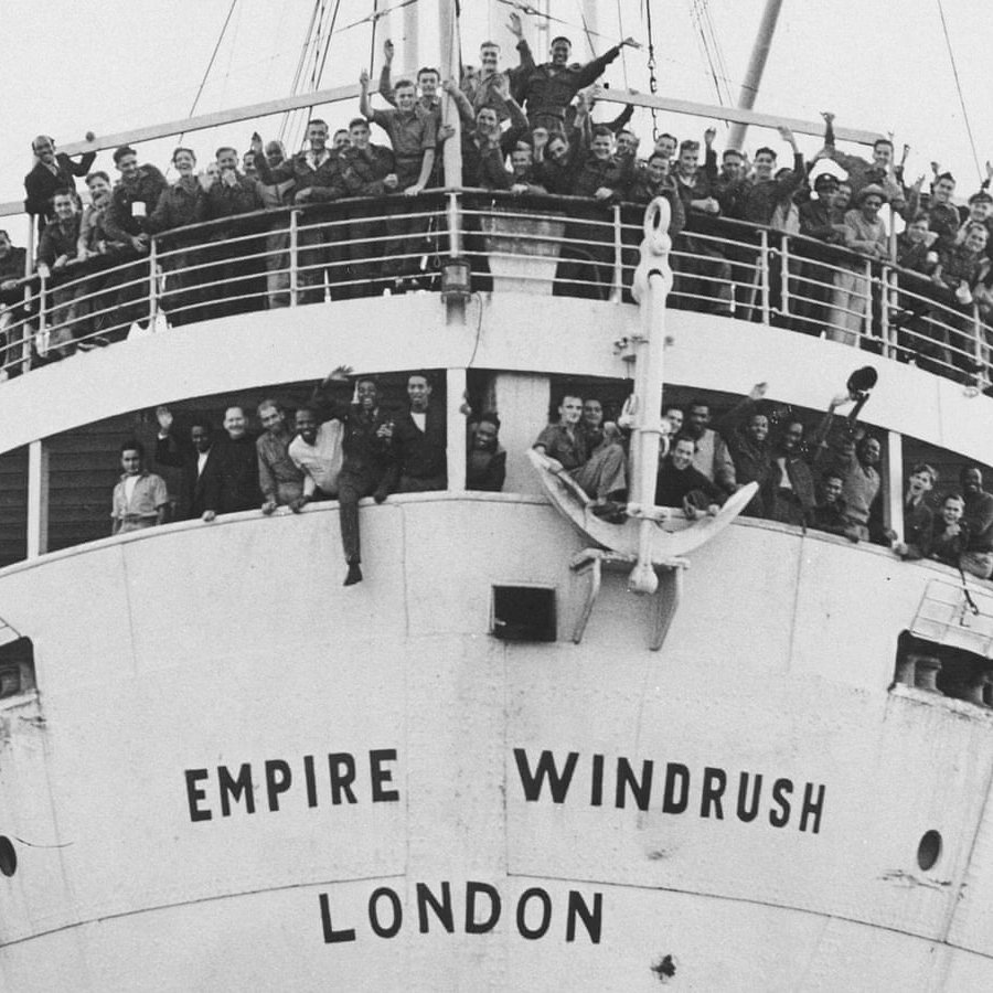 The Windrush arriving in port