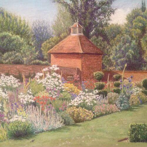A pencilled colour drawing of a garden